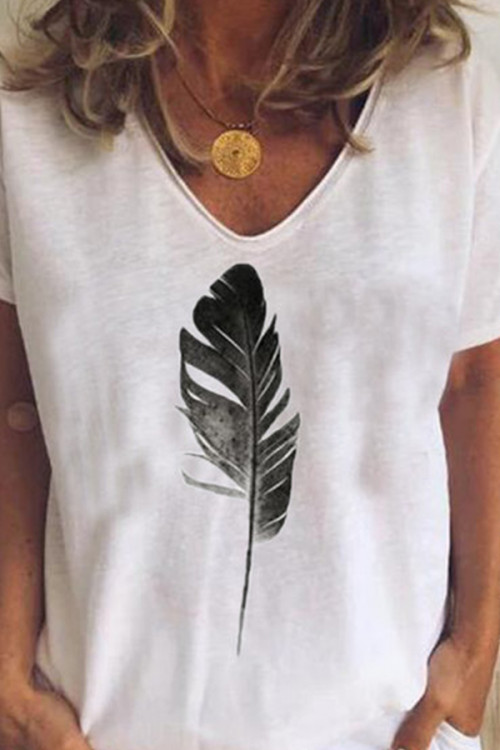 Feather Print Casual T-shirt