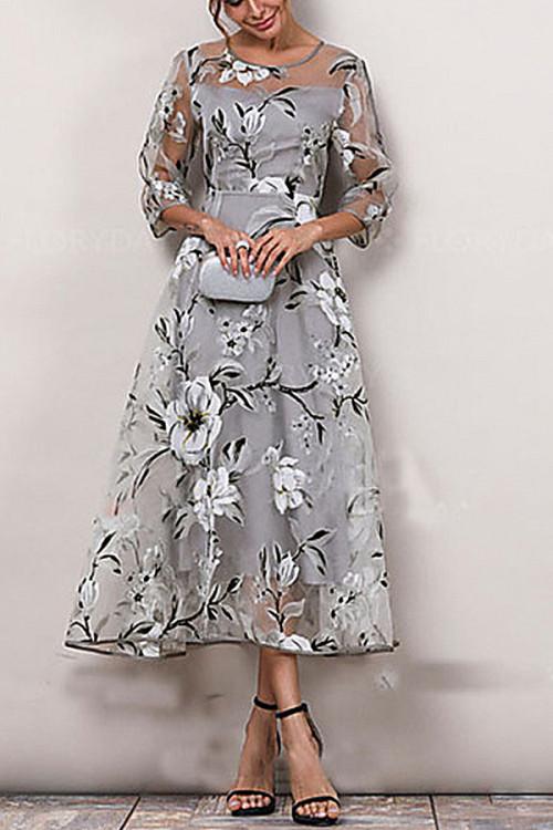 Floral Print Organza Elegant Dress