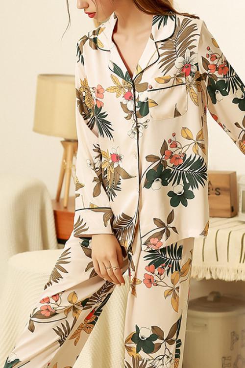 Floral Print Pocket Pajama Suit