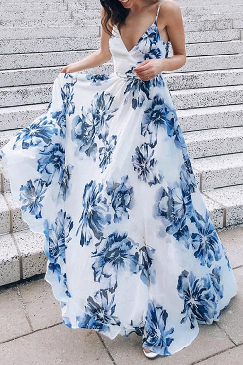 Floral Print V-neck Backless Dress