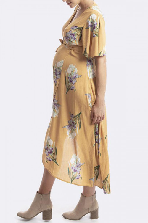 Floral V-neck Maternity Wrap Dress