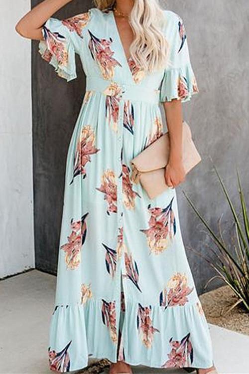 Flounce V-neck Maxi Dress