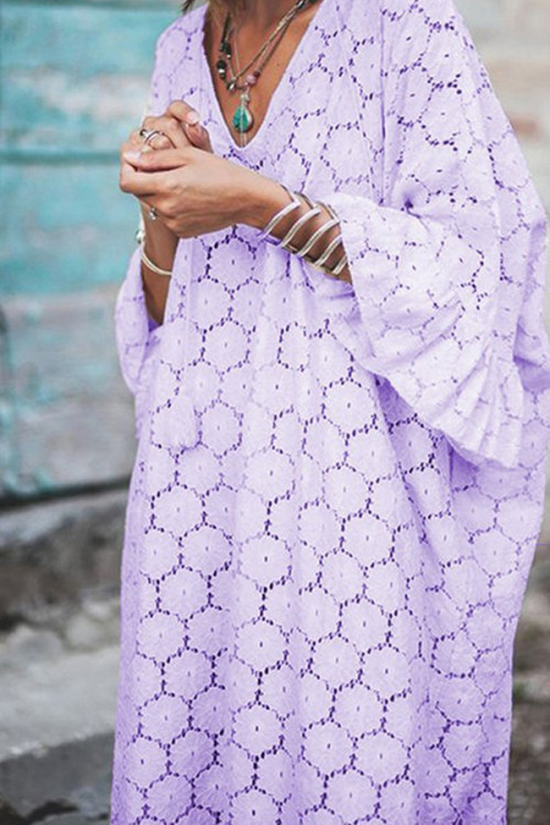 Geometric Lace V-neck Dress