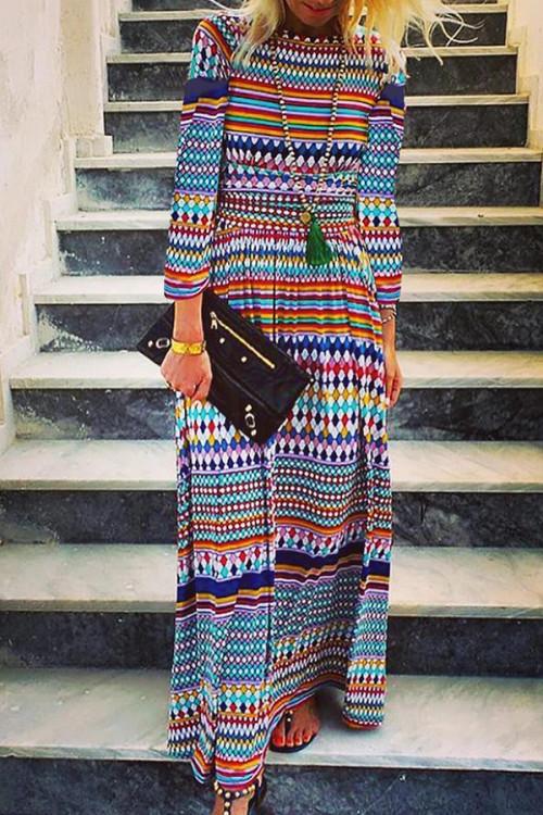 Geometric Print Scoop Dress