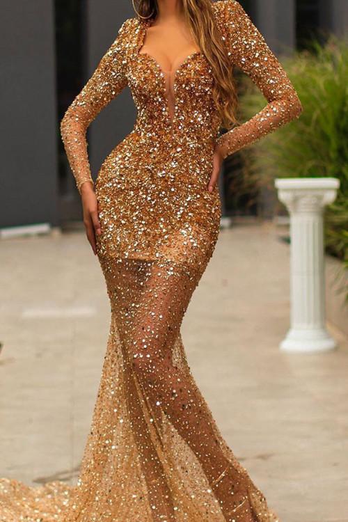 Gold V-neck Sequin Prom Dress
