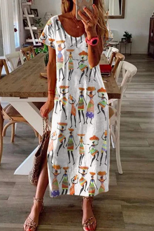 Graphic Print Slit Tee Dress