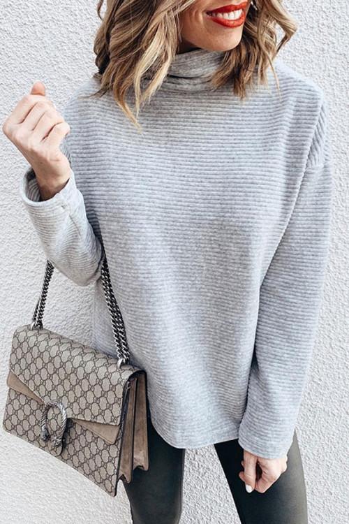Gray Casual Turtleneck Sweatshirt