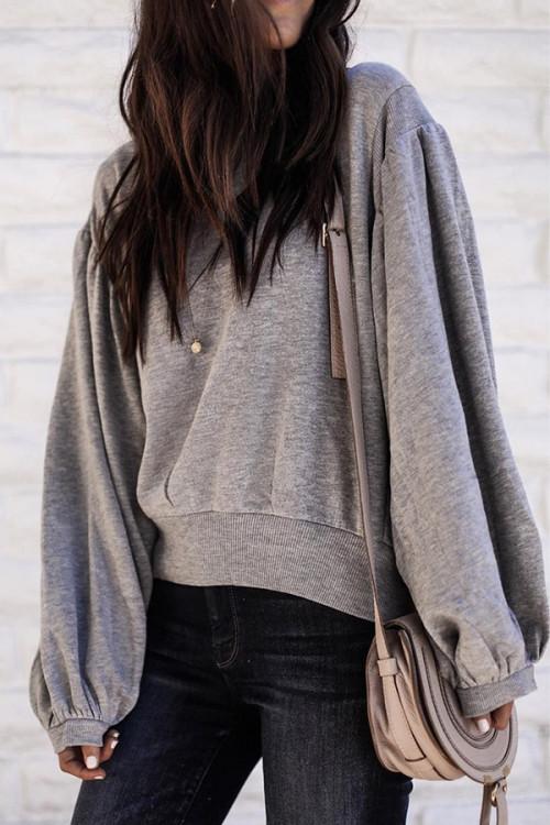 Gray Lantern Sleeve Sweatshirt