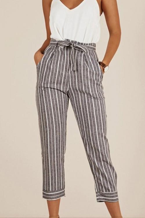 Gray Striped Capri Pants
