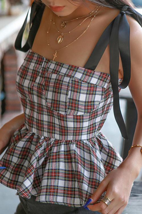 Grid Tie Shoulder Ruffled Top