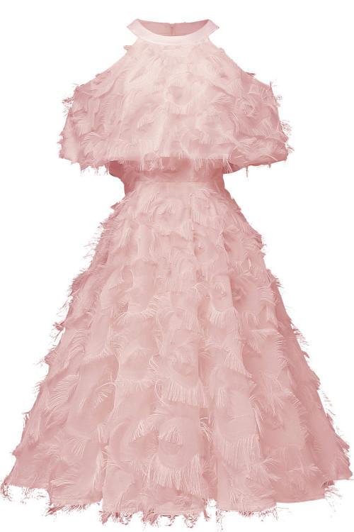 Halter Sleeveless Overlay Dress