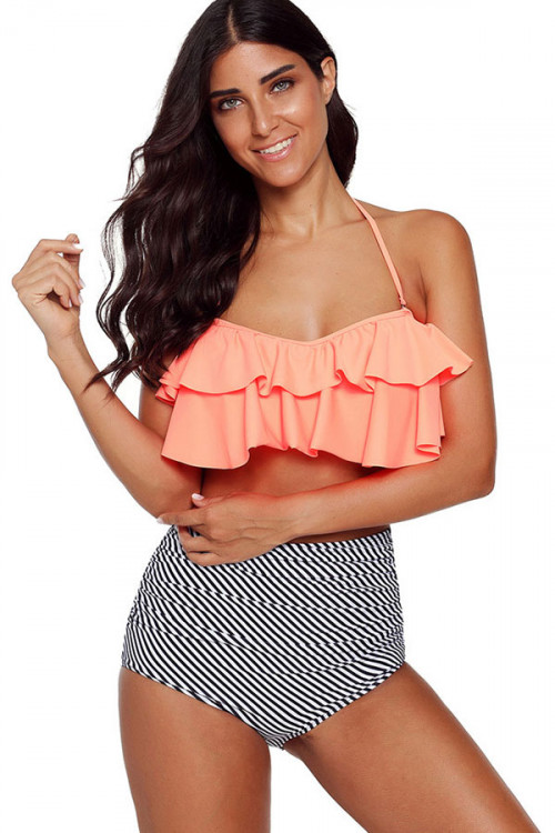 Halter Ruffled Bikini Set