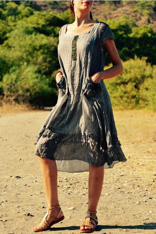 Hem Fringe Tee Dress