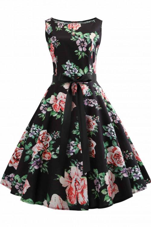 Vintage Floral Sleeveless Dress