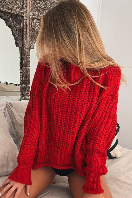 High Neck Cut Out Sweater