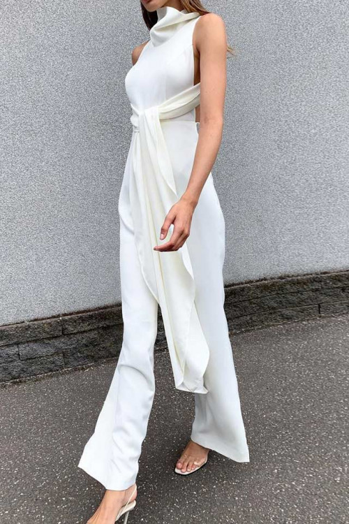 High Neck Lace-up Jumpsuit