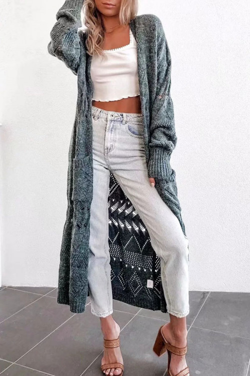 Hollow  Long   Kit   Cardigan