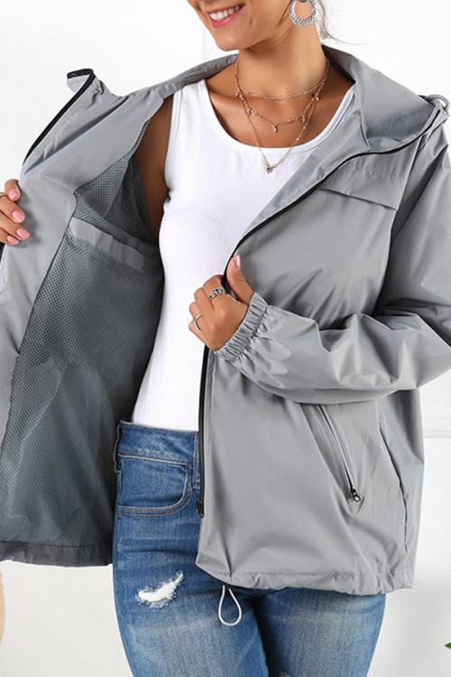 Hooded Drawstring Waterproof Jacket