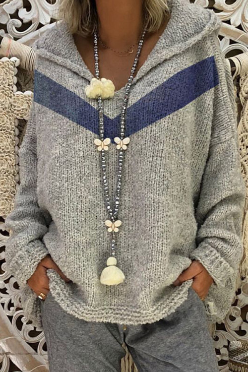 Hoodie Pullover V-neck Sweater