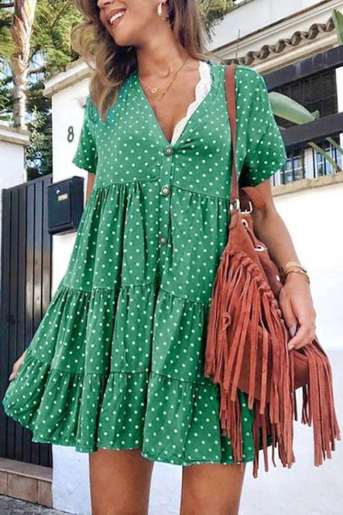 Polka Dot Buttons Ruffled Dress