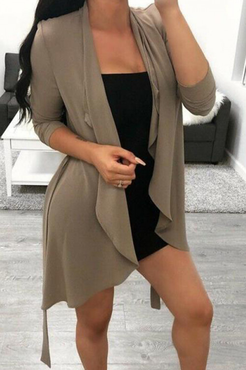 Lace-up Solid Cardigan