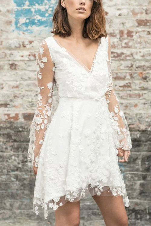 Lace Embroidered See-thru Dress