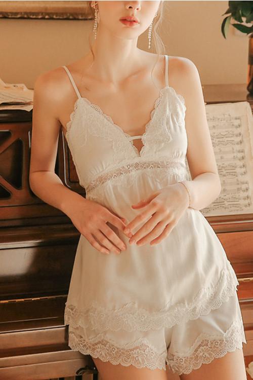 Lace Patched Cami Short Set