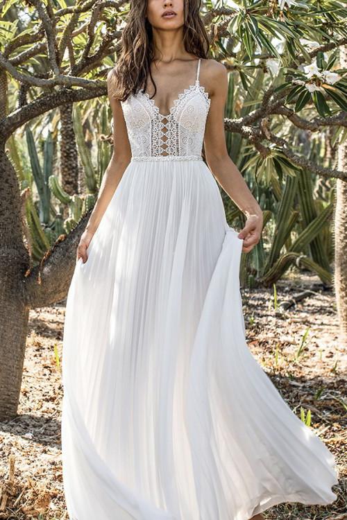 Lace Spaghetti Straps Chiffon Dress