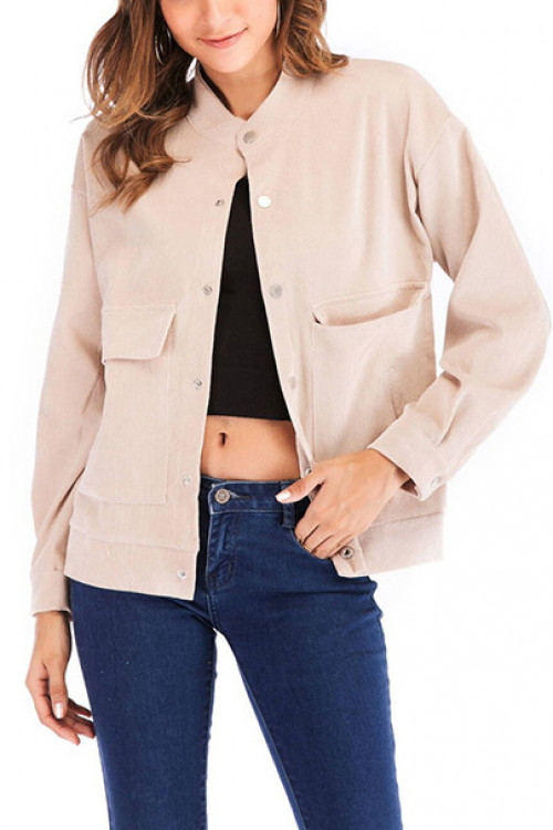 Single  Breasted  Pockets  Blouse