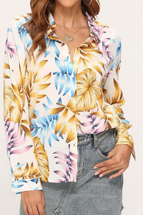 Leafy Print Chiffon Shirt