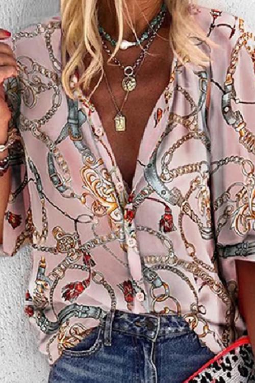 Leopard Print Bubble Sleeves Shirt