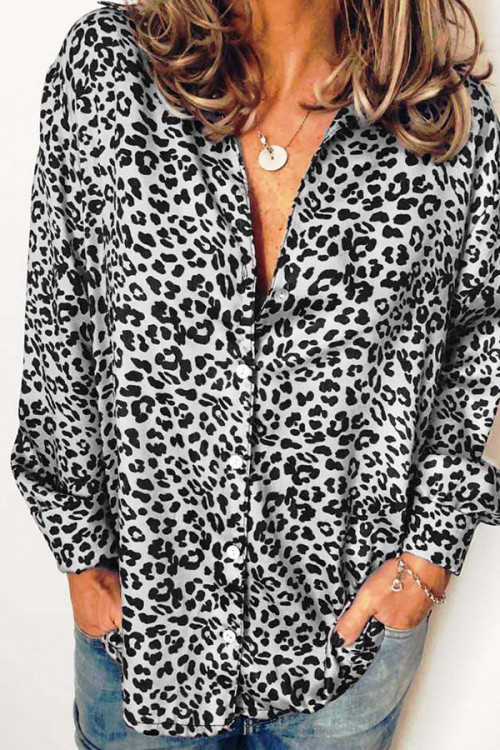 Leopard Print Button-down Shirt