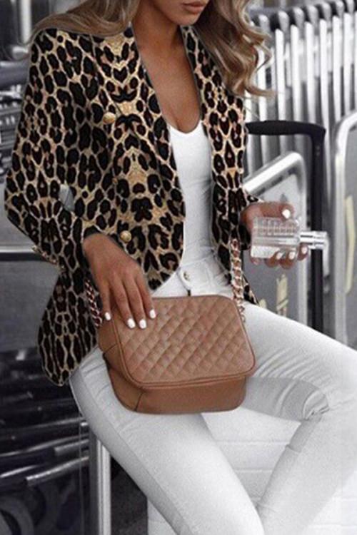 Leopard Print Button Jacket