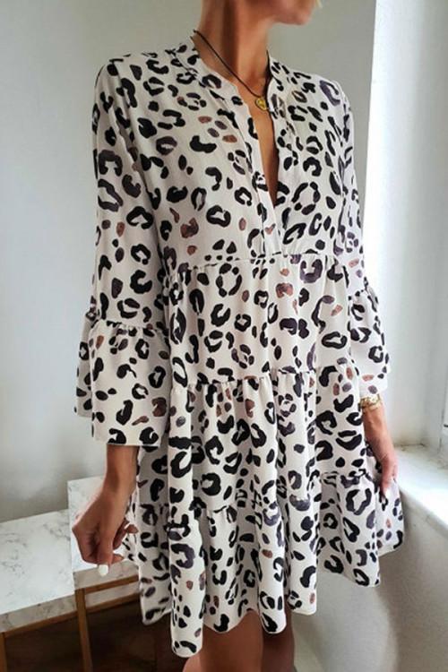 Leopard V-neck Ruffled Dress