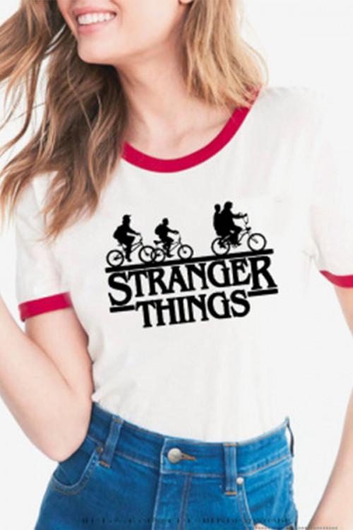 Letter Print Scoop T-shirt