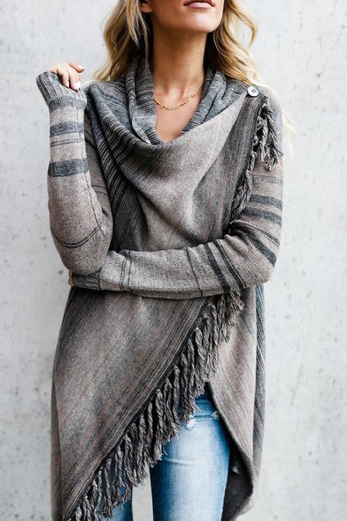 Striped Tassel Cardigan