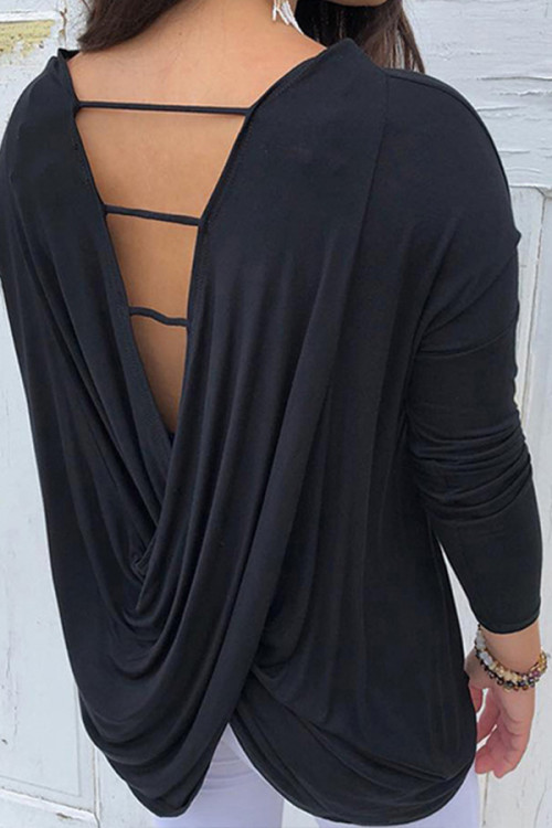 Long Sleeve Backless Blouse