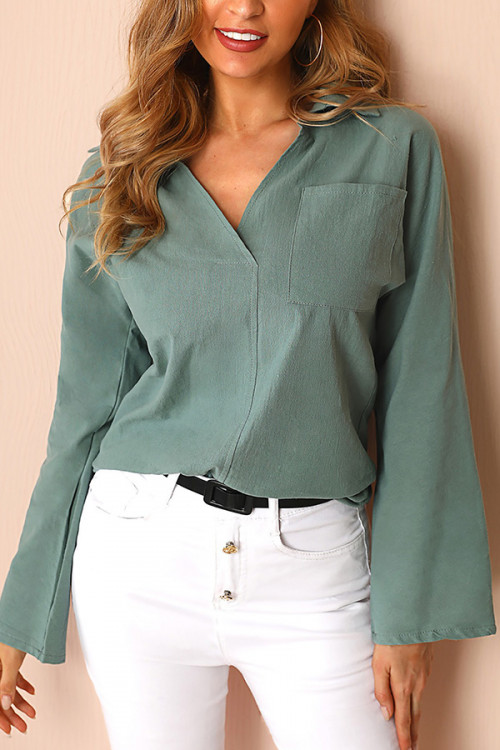 Long Sleeve V-neck Pocket Shirt