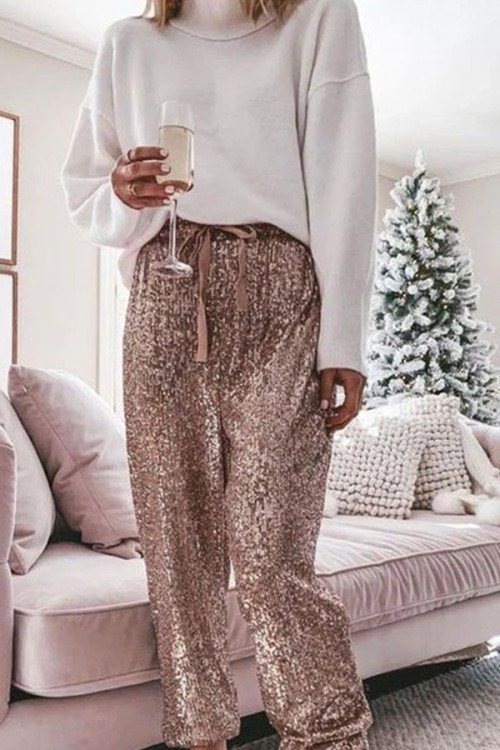 Loose Drawstring Sequined Pants