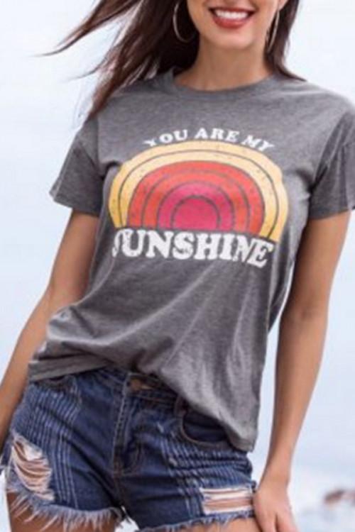 Loose Gray Printed T-shirt
