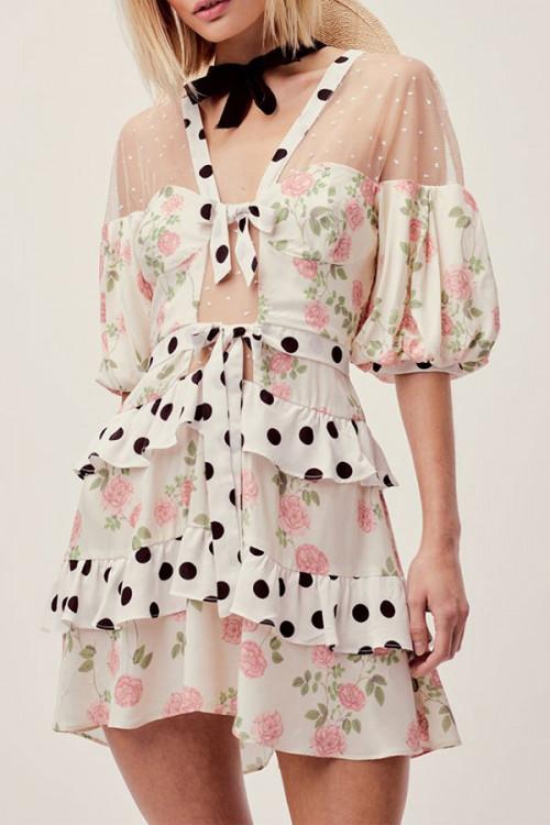 Mesh Panel Printed Ruffle Dress