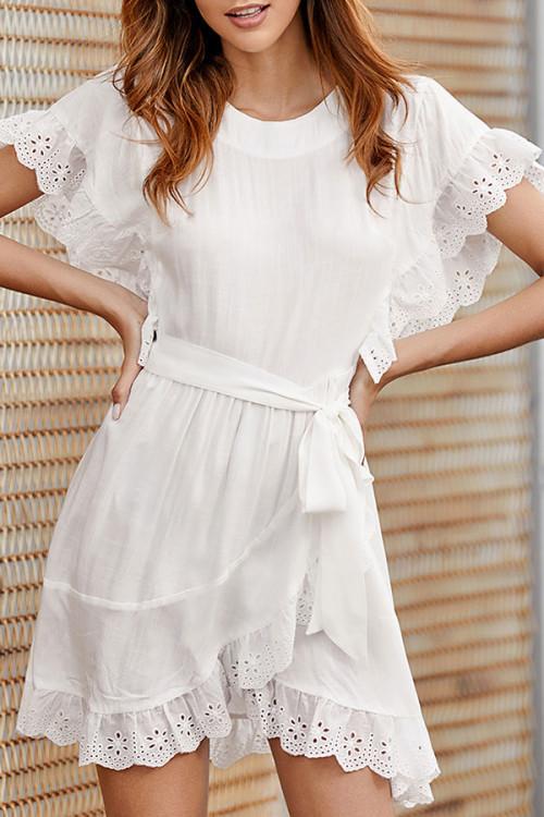 Minimal Lace-up Ruffled Dress