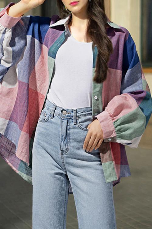 Multi-color Plaid Plus Size Shirt
