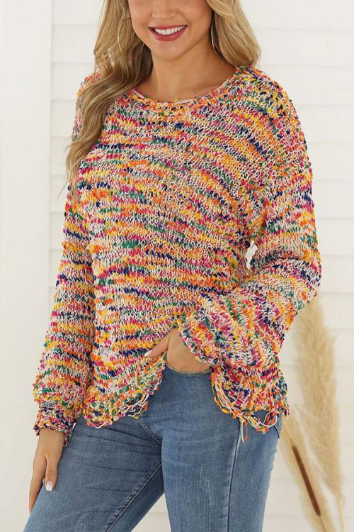 Multi-Color Scoop Sweater