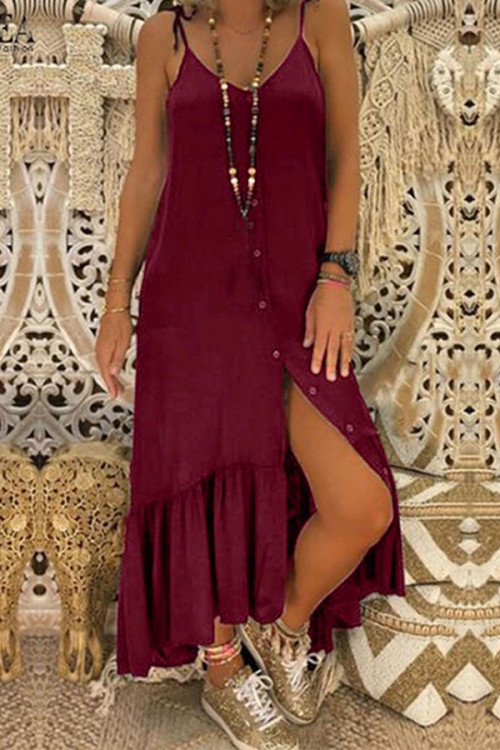 Solid Buttons Ruffled Slip Dress