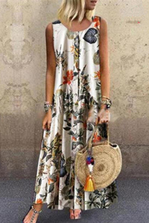 Scoop Buttons Floral Tunic Dress