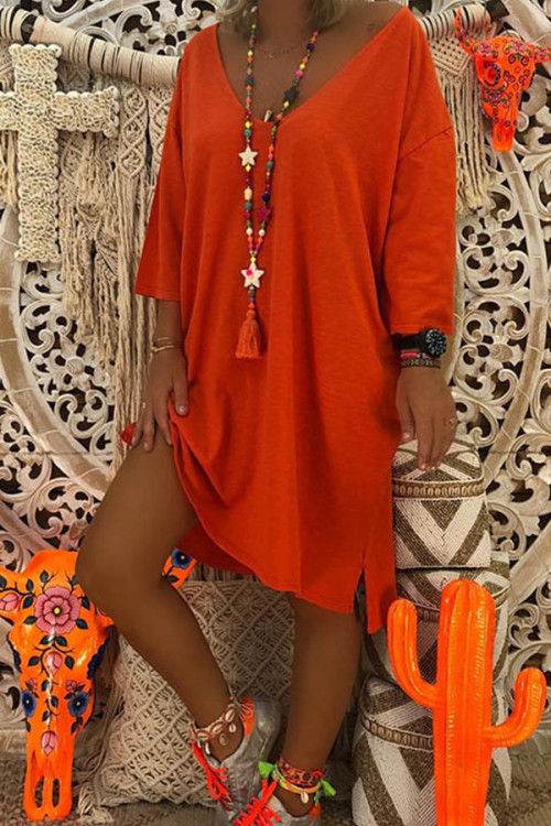 Casual Solid 3/4 Sleeves Tunic Dress