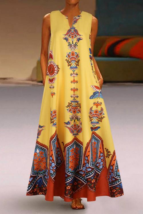 Arabian Print V-neck Tunic Dress