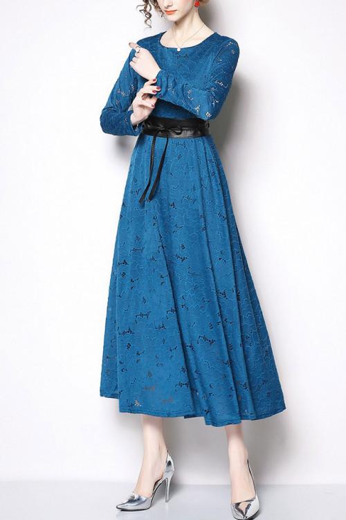 Crochet Eyelet Lace Long Dress