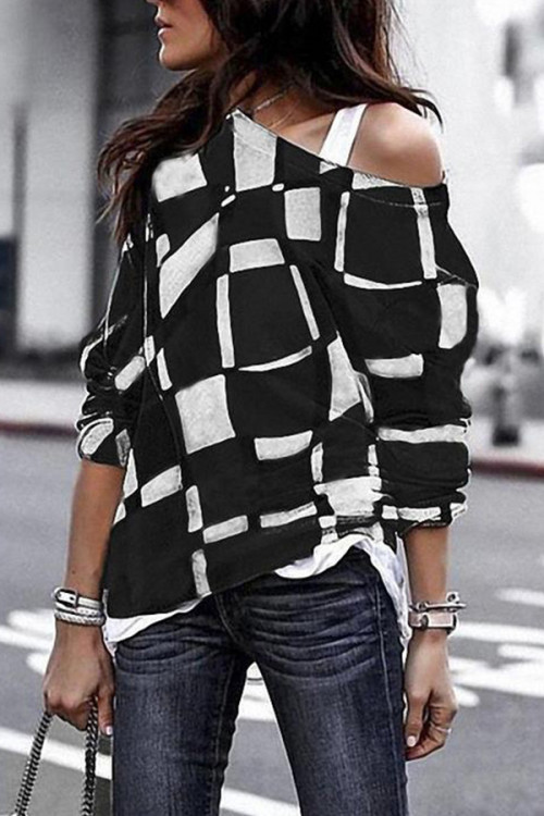 Off-the-shoulder Plaid Sweatshirt
